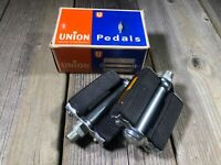 "VINTAGE BIKE BICYCLE UNION PEDALS 9/16"" THREADS PEDAL MADE IN GERMANY NOS"