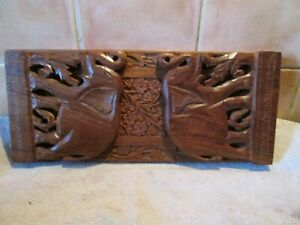 Vintage Wooden / Sliding / Expanding Book Ends / Shelf With Elephant Carvings