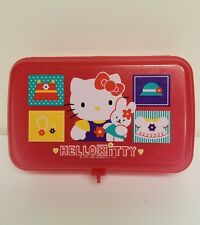 Hello Kitty 1996 Vintage School Pencil Supply Case Sanrio Plastic Box Art Kit