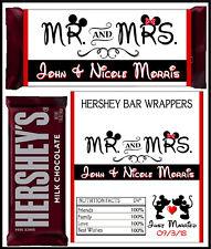 DISNEY MICKEY & MINNIE WEDDING FAVORS HERSHEY CANDY BAR WRAPPERS