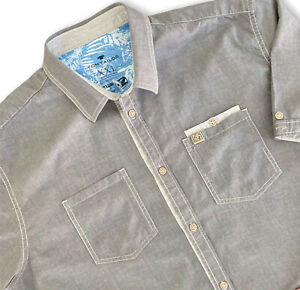 Tom Tailor Casual Shirt XXL Grey Cotton Button Up Short Sleeves Pockets Urban
