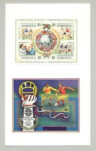 Dominica #1201-1202 World Cup Soccer 1v M/S of 4 & 1v S/S Imperf Proofs on Card