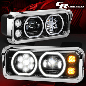 PAIR BLACK FULL LED+TURN SIGNAL HALO PROJECTOR HEADLIGHTS FOR 81-19 PETERBILT