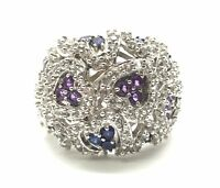 Sterling Silver 925 Multi Round Purple Amethyst CZ H Cluster Heart Cocktail Ring