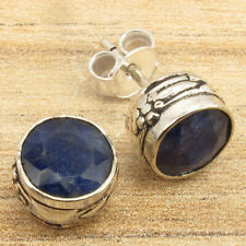 925 Silver Plated Blue Simulated Sapphire Retro Style Stud Post Earrings Lovely