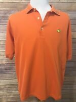 Augusta National Golf Shop Mens Orange Polo Shirt Size Large Masters 2 Ply
