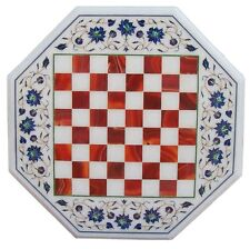 "15"" Marble Coffee Side Chess Table Top Carnelian Inlay Design Home Decor H2078"