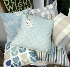 CUSHION COVER MADE IN  DUCK EGG BLUE COTTON FABRIC POLKA DOTs SPOT SPRING SPOTS