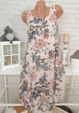ITALY fiori abito lino cotone estate oversize MIDI Hippie Rosa 40 42 44 982fb4d0f5b