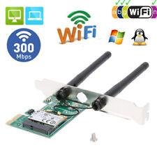 Wireless Wifi 300Mbps LAN Network PCI Express Adapter Card 802.11B/G/N 2 Antenna