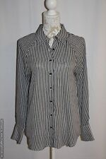 NWD WAYF Where Are You From? Button Front Blouse Cream/Black Stripes Small