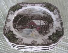 "Six Johnson Brothers Friendly Village Covered Bridge 7.5"" Square Plates Set #1"