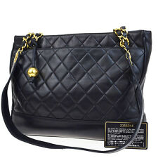 Auth CHANEL CC Logos Charm Quilted Chain Shoulder Tote Bag Leather Black 78Q777