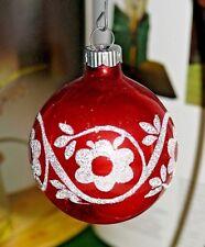 Vintage Shiny Brite Stencil Mica Mercury Glass Red Ball Christmas Tree Ornament