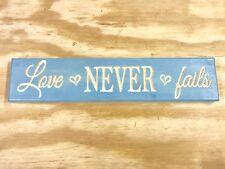 "Hand Made Engraved Wood ""Love Never Fails"" Sign Vintage Aqua!"