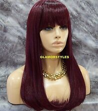 Long Straight With Bangs Burgundy Black Mix Full Synthetic Wig Hair Piece NWT
