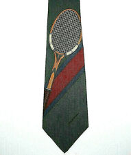 Polo By Ralph Lauren Vintage Men's Tennis Tie Hand Made Dark Green Maroon Silk
