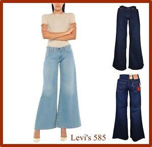 levi's 585 jeans levis donna elasticizzati a vita bassa palazzo larghi zampa blu