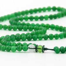 Green Jade Gem Tibet Buddhist 108 Prayer Beads Mala Necklace