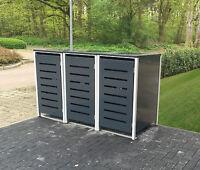 3-er Mülltonnenbox No.6 Metall Müllbox Anthrazit Mülltonnenschrank 3 Tonnen 120L