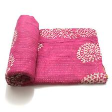 Vintage Kantha Quilt Indian Handmade Cotton Bedspread Bed Cover Bedding Throw