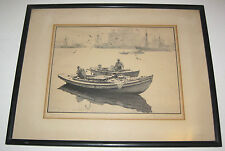 GORDON GRANT etching entitled REFLECTIONS nautical boat fishing pencil signed