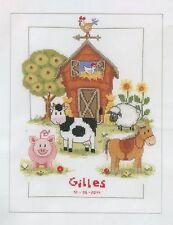 Stickpackung Stickbild sticken 22x29 Bauernhof Tiere Kuh Schwein Pferd Baby Name