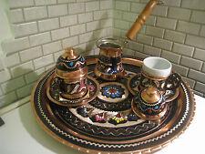 Handmade Copper Turkish Coffee&Espresso Serving Set,Tray:OTTOMAN HANDCRAFTED