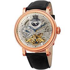 Men's Akribos XXIV AK968RGBK Automatic Skeleton Dual Time Black Leather Watch