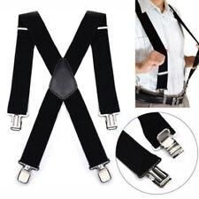 50mm Unisex Mens Men Braces Plain Black Wide & Heavy Duty Suspenders Adjustable