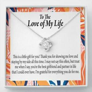 To My Girlfriend Best Girl Love Knot Pendant Necklace Stainless Steel w CZ stone