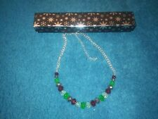 Multi Coloured Faceted Glass  Bead Necklace NEW