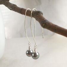 Lange Design Ohrringe MUSCHELKERN 925 Silber Perlenohrringe dunkel grau g775