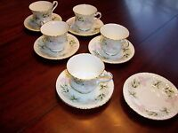 Lot of 5 Roslyn Fine Bone China Style 586 Tea Cups and Saucers Made in England