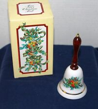 1985 Avon Porcelain Christmas Bell with Wood Handle; Pre owned/Vgc