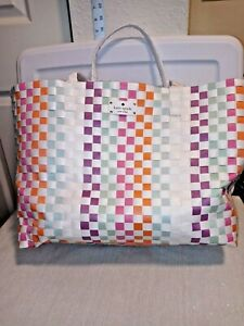 Kate Spade New York Multicolor Woven/Braided beach travel carry on Tote bag