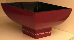Lacquered Bowl; Bombay Lacquered Decorative Wooden Square Bowl; Maroon and Black