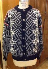 Vintage L.L. Bean Norway Nordic Snowflakes 100% Wool Dark Blue Cardigan Size XL
