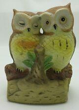 Pair of Owls on a Branch Decorative Statue Figure Ceramic Figurine