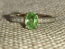 Natural Vivid green Tsavorite garnet and Diamond ring solid 9ct yellow gold