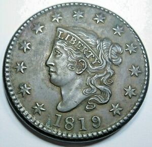 1819/8 XF-AU Details US Large Cent Antique US Old U.S. 1 Penny Mint Error Coin
