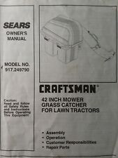 Sears Craftsman Grass Catcher for Lawn Tractor 42 Mower 917.249790 Owners Manual