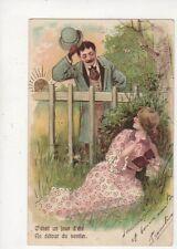 C'Etait Un Jour d'Ete Embossed Gilt Chromo Romantic Greetings Postcard 884a