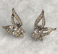 1950s Clip On Earrings Glass Paste Gems Floral Flower Jewellery Jewelry Retro