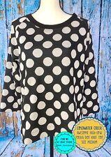 Funky Soft COLDWATER CREEK Black White Polka Dot Knit Sweater Top Size M Warm