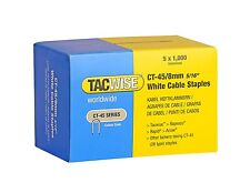 TACWISE CT45 8mm WHITE CABLE TACKER STAPLES, 5,000/BOX (5 x 1,000 packs)