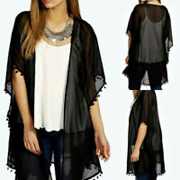 Women's Lace Crochet Sheer Party Evening Cardigan Loose Tops Coat Jacket Kimono