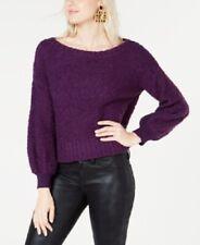 Bar III Bishop-Sleeve Fuzzy Textured Sweater Purple Large