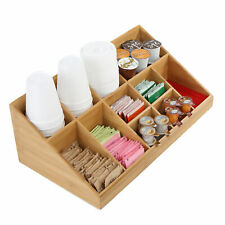 Mind Reader 11 Compartment Coffee Condiment Organizer Brown Bamboo