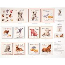 """Who says Woof Animals Soft Book Cream 100% cotton 43"""" fabric by the panel 36"""""""